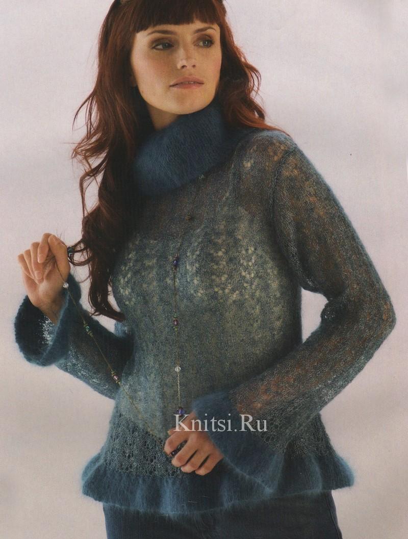 Вязаный ажурный <b>свитер</b> с воланами, джемпер пуловер-зима ...