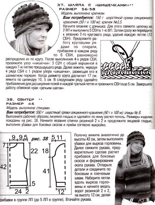 Схема вязания шапки и свитера