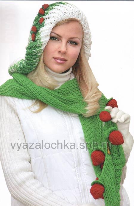 Вязаные шапка и свитер крючком