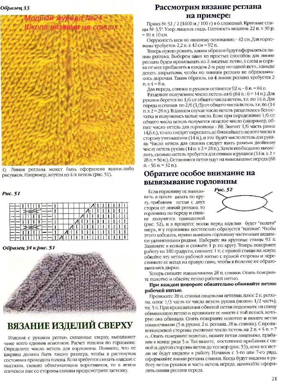 Рисунок при вязании реглана
