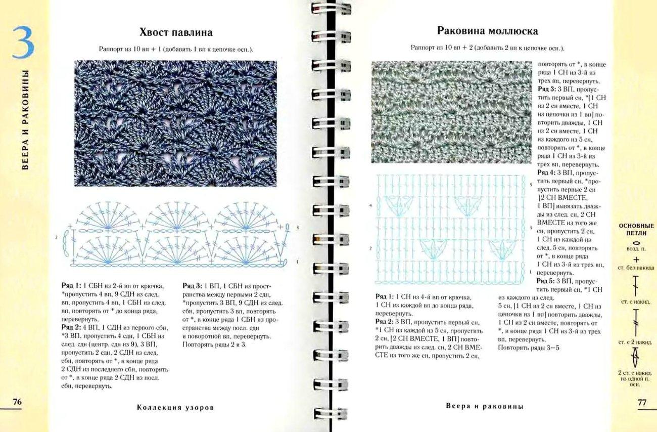 Узоры павлиний хвост со схемами