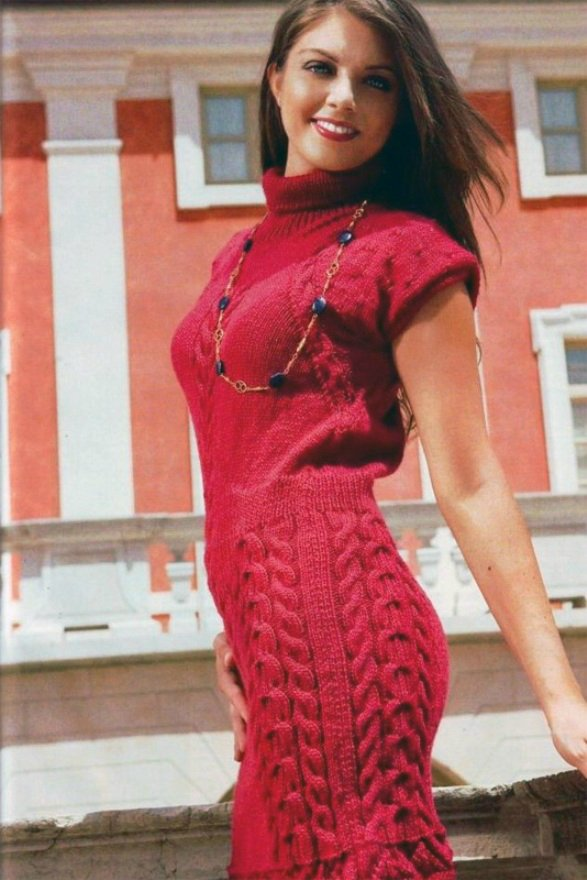 Красное платье чулок узор косы