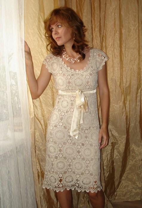 вязаное ажурное платье вязание крючком платья схема вязания фото