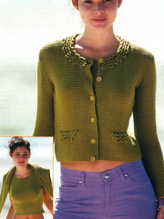 вязаная практичная двойка зеленая блузка и топ спицы крючок кофта