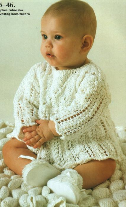 вязаный белое платье для малютки вязание детей схема вязания