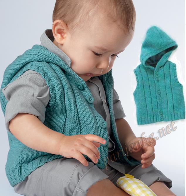 вязаная безрукавка с капюшоном вязание для детей схема вязания