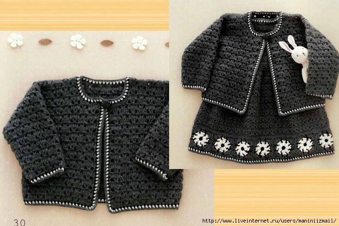 вязаная детская кофточка к платью вязание для детей схема вязания