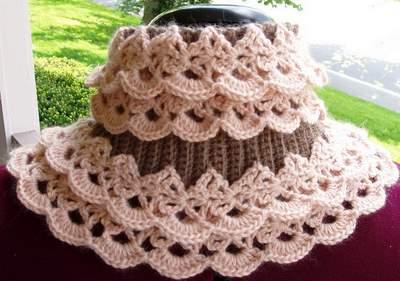 вязаный ажурный шарф воротник вязание крючком аксессуары шарфы