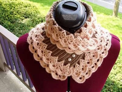 Ажурный шарф воротник вязание