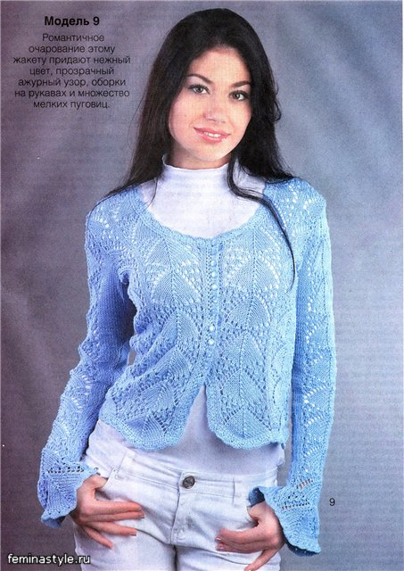 Ажурный синий жакет спицы,