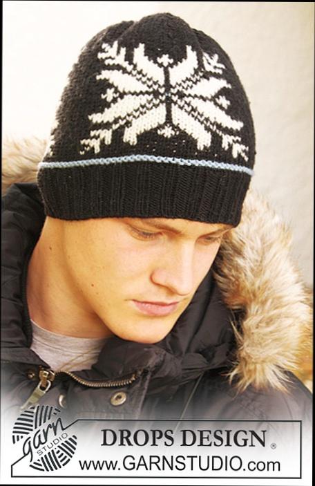 вязаная мужская шапка вязание от Drops для мужчин схема вязания