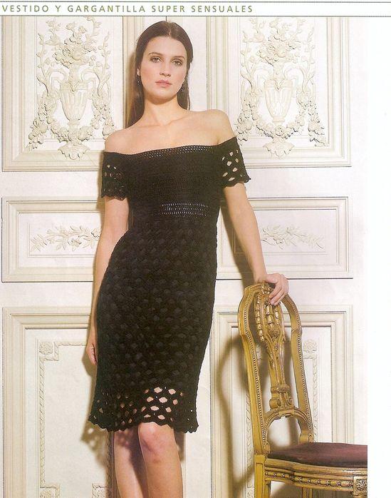 вязаное чёрное платье крючок летнее сарафан схема вязания фото