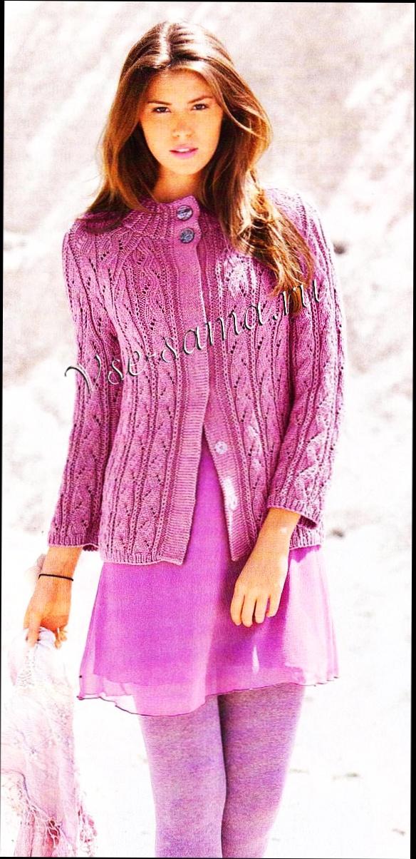 Ажурный розовый пуловер.