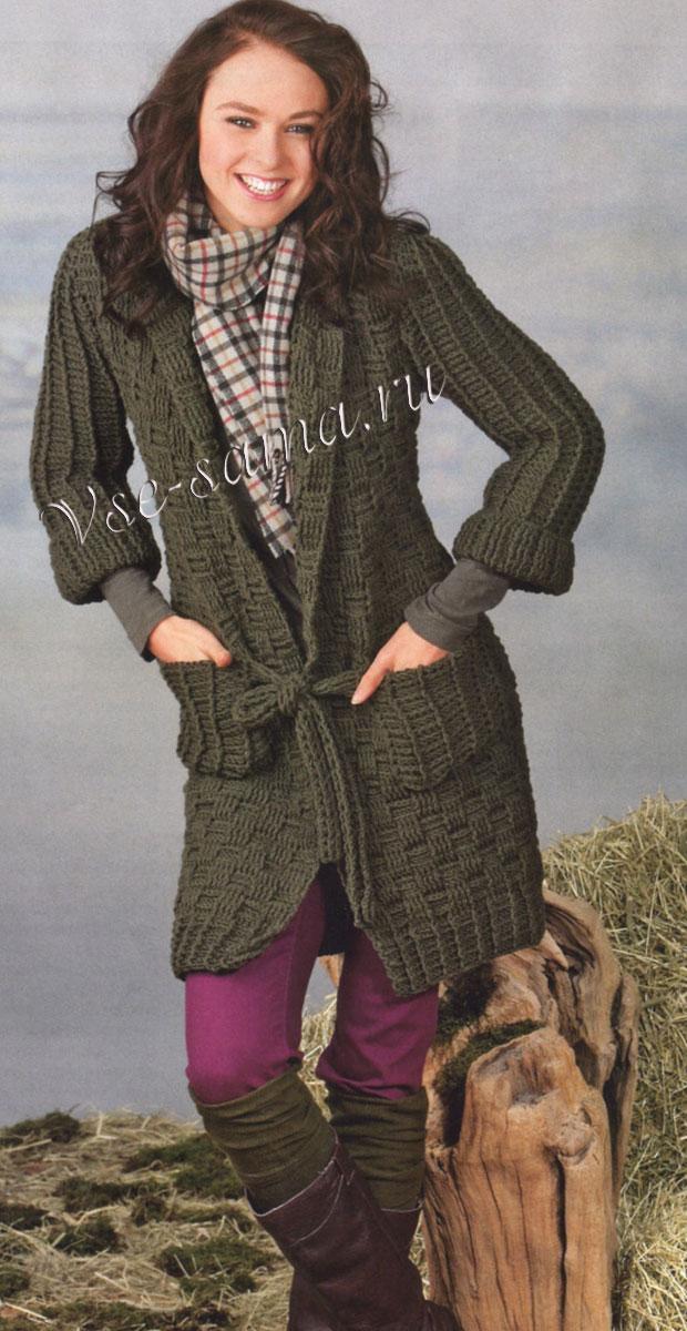 вязаная кофта с карманами пальто кардиган крючок схема вязания