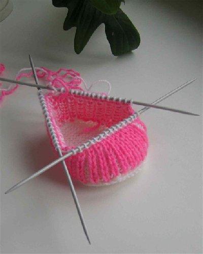 Схема вязания пинетки спицами фото описание