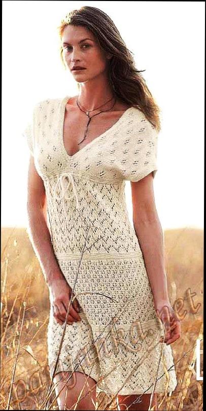 Вязаное ажурное белое платье