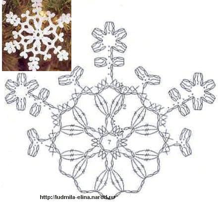 Просто схемы снежинок для