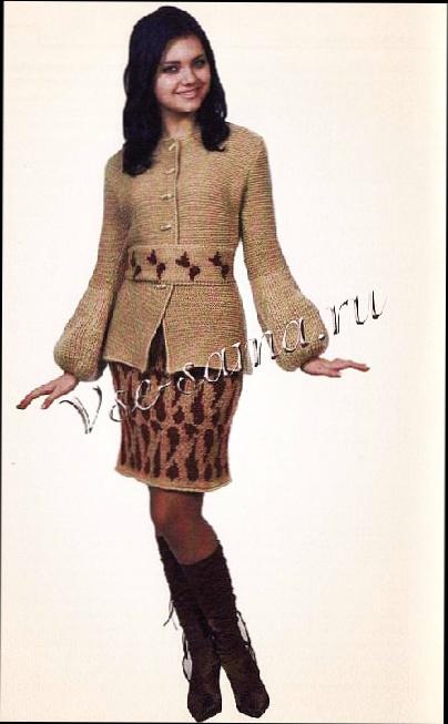 Жакет и юбка с жаккардовым