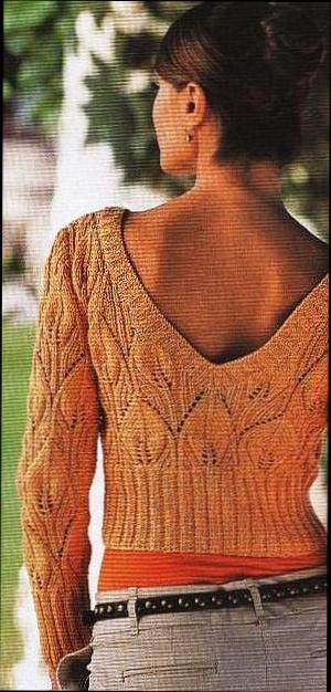 "Схема вязания короткого жакета с узором  ""листочки "" спицами, крючком."