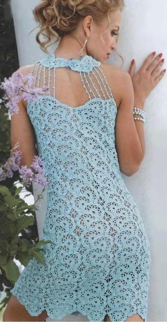Схемы с описанием голубое платье
